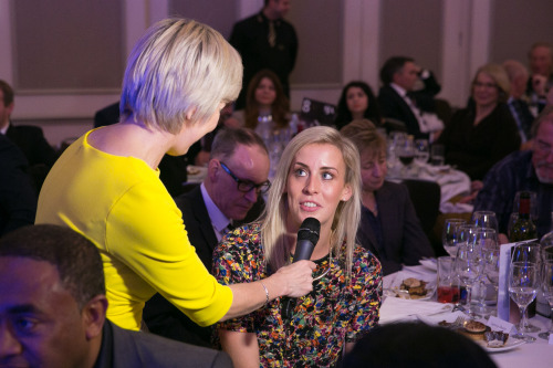Lynsey Sharp interviewed at the SJA British Sports Awards lunch by Sybil Ruscoe