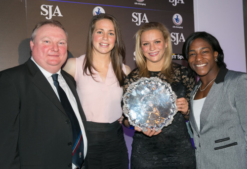 Coach Gary Street, with England women's rugby stars Emily Scarratt, Kay Wilson and Maggie Alphonsi accept the Team of the Year award