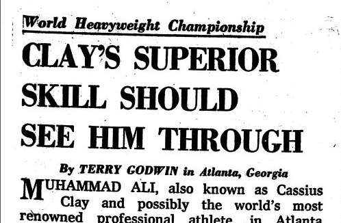 "Terry Godwin covered boxing as well as boxing - at a time when British newspapers still referred to Muhammad Ali as ""Cassius Clay"""