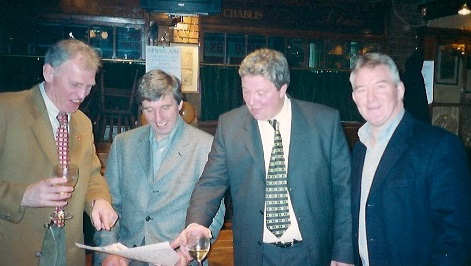 Bob McKenzie, right, with (from left) Malcolm Folley and David Emery at the leaving party for the Mail-bound Charlie Sale