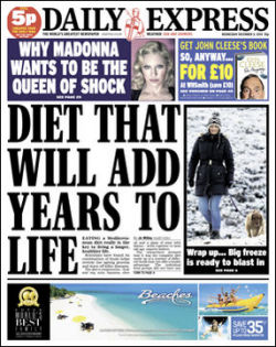 A typical Express front page. Might the group be of interest to Trinity Mirror?