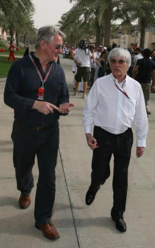 Bob McKenzie, hard at work in Bahrain in 2012 interviewing F1 chief Bernie Ecclestone