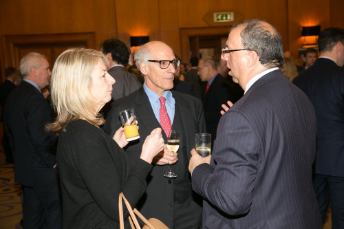The SJA British Sports Awards reception is a great place to network or catch up with old contacts: here agent Jane Cowmeadow is in conversation with veteran sports writer John Goodbody (centre) and London Marathon CEO Nick Bitel
