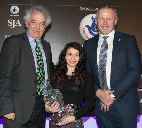 Commonwealth gold medal-winning gymnast Claudia Frangapane received the SJA Committee Award from Sean Fitzpatrick, from Laureus, and the SJA's Keith Elliott (left)