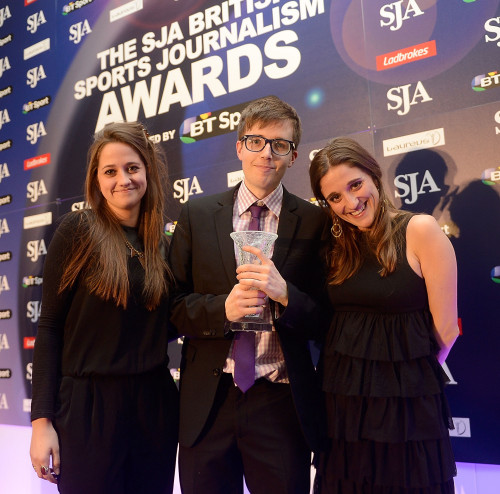 Teddy Cutler receives the Student Sports Writer Award  Teddy Cutler (C) receives Student Sports Writer of The Year from Katie and Aley Welch during the SJA British Sports Journalism Awards Ceremony at Grand Connaught Rooms on March 24, 2014 in London, England.  (Photo by Bethany Clarke/Getty Images