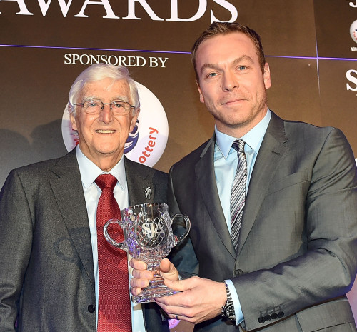 Sir Chris Hoy receives the SJA President's Award from Sir Michael Parkinson last month. The six-time Olympic champion deserves a statue, but is too nice to ask for one. See Q9