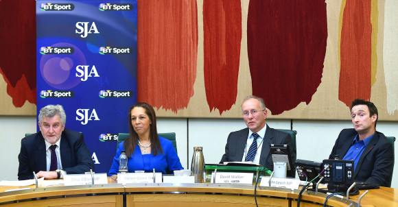 Any Questions: Our panel at Monday night's SJA event at the House of Commons, from left, Clive Efford MP, Helen Grant MP, our chairman, David Walker, and John Leech MP. Photo by Tom Dulat/Getty Images