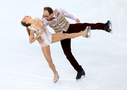 Nelli Zhiganshina and Alexander Gazsi of Germany compete during the Figure Skating Ice Dance Short Dance on day 9 of the Sochi 2014 Winter Olympics at Iceberg Skating Palace on February 16, 2014 in Sochi, Russia.  (Photo by Paul Gilham/Getty Images)