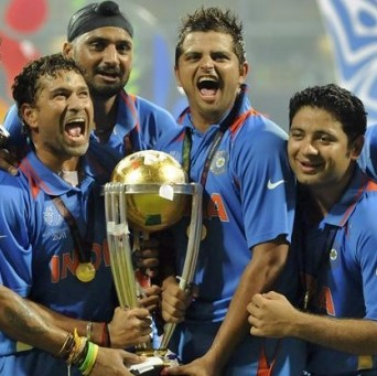 Sachin Tendulkar and his India team mates celebrate winning the World Cup in 2011. Or are they just relieved that the tournament had finished?