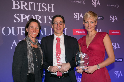 Jonathan Calvert and Heidi Blake (right), the Sunday Times Insight team, won two awards on the night for their Fifa Files. Here, they receive Investigative Reporter from the SJA Treasurer, Sarah Juggins