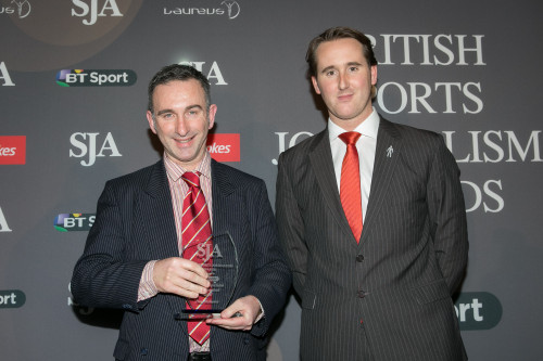 The Ladborkes-sponsored Specialist Writer Award was won by freelance golf writer Paul Mahoney, presented by David Williams of Ladbrokes (right)