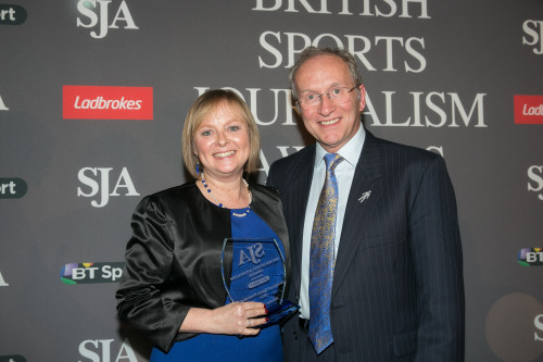 On a good night for BBC Sport, Eleanor Oldroyd collected the Broadcast Presenter Award from SJA Chairman David Walker