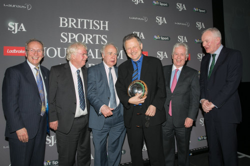 Mike Ingham, the former BBC football correspondent, is presented with the Doug Gardner Award for services to sports journalism by an illustrious group of SJA figures - from the left, chairman David Walker, James Lawton, Hugh McIlvanney, Ingham, Jeff Powell and President-elect Patrick Collins