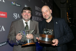 Sports Writer of the Year Martin Samuel, left, with the Sports Photographer of the Year, Adrian Dennis