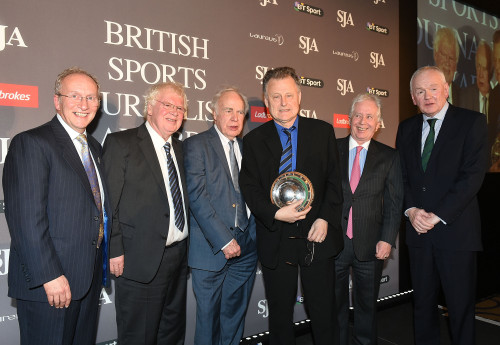 Mike Ingham, centre with trophy, was for once left speechless. Almost. He is flanked, from left, by David Walker, James Lawton, Hugh McIlvanney, Jeff Powell and Patrick Collins