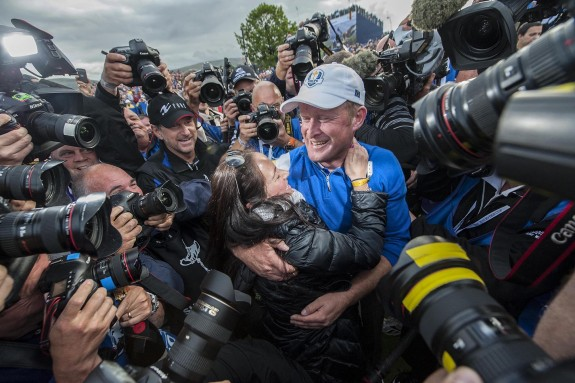 SPT_GCK_280914_The 2014 Ryder Cup, Gleneagles. Picture Graham Chadwick. Sun, Singles. with Jamie Donaldson with his partner Kathryn after the Europeans secure victory on the 15th