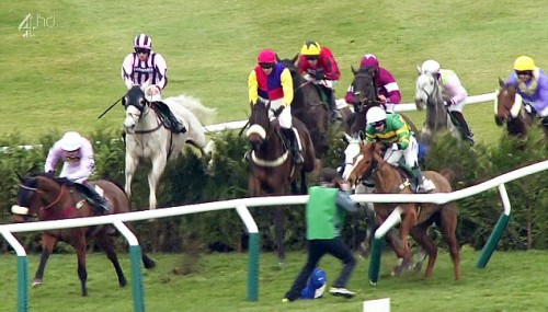 Moment of truth: photographer Patrick McCann gets too-close a focus on two racehorses crashing out at Cheltenham yesterday