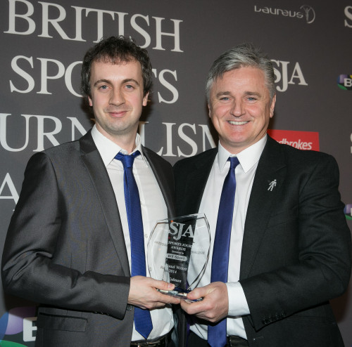 Jon Colman, left, collects the latest of his SJA Regional Sportswriter awards - his fifth - from BT Sport's Des Kelly