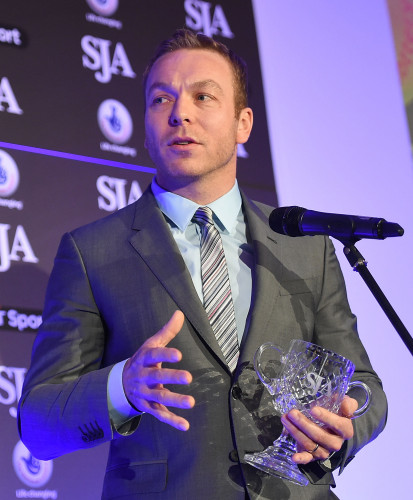 Sir Chris Hoy, one of thr many great figures from sport at our British Sports Awards last December, visibly moved by his lifetime achievement award