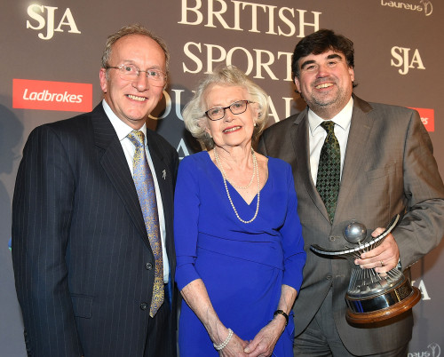 Martin Samuel, right, receives the John Bromley Trophy, again, from Carle Ann Bromley and SJA chairman David Walker