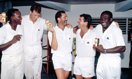 The England team celebrate victory in the West Indies: from left - Devon Malcolm, Angus Fraser, Graham Gooch, Allan Lamb and Gladstone Small