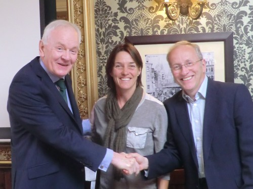 Patrick Collins welcomed on board as SJA President by Chairman David Walker (right) and Sarah Juggins, the Treasurer