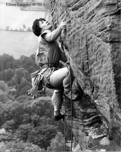 This Eileen Langsley image of climber Bonnie Masson might be a metaphor for the woman photographer's career