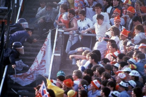 Scenes on the terracing at Heysel Stadium 30 years ago