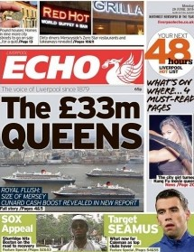 Today's re-launched Liverpool Echo... notice the Everton story in the bottom right-hand corner?