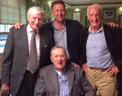 Old timers talking old times: Norman Giller (left) with Matthew Lorenzo (centre), Nigel Clarke and Brian James (front)