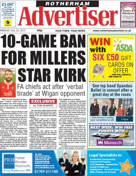 How the Rotherham Advertiser broke the news of the FA's ban