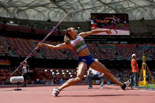 No mistakes: Jessica Ennis-Hill on her way to regaining the heptathlon world title in Beijing