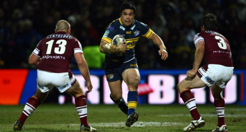 No stopping them: Kylie Leuluai helped Leeds Rhinos steam towards an historic season