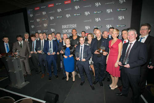 The night's various winners take to the stage at the end of another terrific celebration of British sports journalism. Picture by STEVE ROWE/SJA