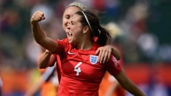 Fara Williams celebrates scoring England's winner in the World Cup bronze medal match