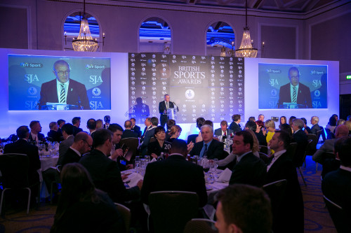 Jim Rosenthal and the Grand Connaught Rooms are ready for the 2015 SJA British Sports Awards. Picture by Steve Rowe/SJA