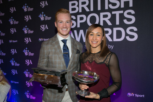 World champion athletes Greg Rutherford and Jessica Ennis-Hill, the SJA's Sportsman and Sportswoman of the Year. For Ennis-Hill, it is the fourth time she has won at the SJAs; Rutherford is the first male track and field athlete to come top in our poll since 1998