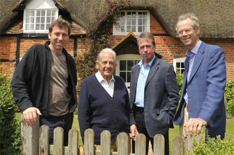 Alan Lee with three other Times cricket correspondents, from left Mike Atherton, John Woodcock and the late Christopher Martin-Jenkins. Picture courtesy of The Times