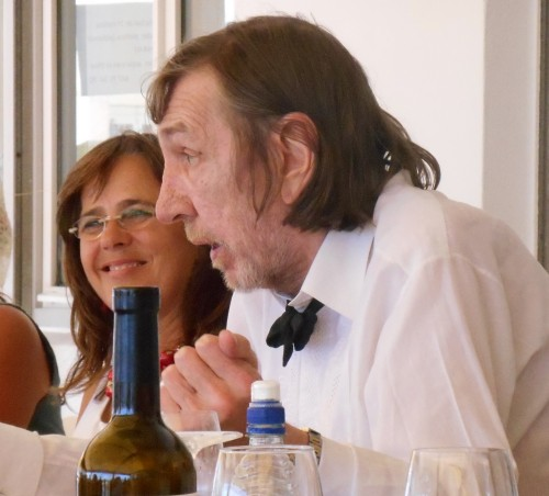 Chris Nawrat, holding forth in typical style, at his wedding in Spain last year
