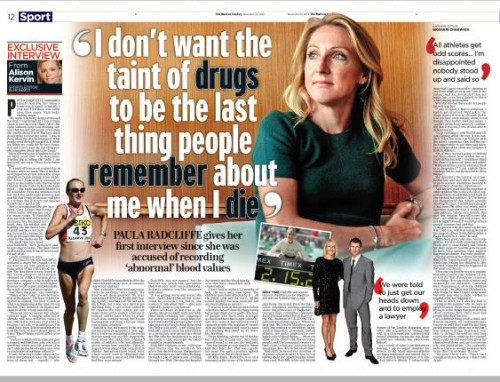 Mail of Sunday sports editor Alison Kervin's interview with Paula Radcliffe is another entry shortlisted for Scoop of the Year