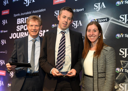 LONDON, ENGLAND - FEBRUARY 22: Matt Lawton (C) receives The Sports News Reporter Award from Martin Kelner and Nicole Cooke during the The SJA British Sports Journalism Awards on February 22, 2016 in London, England. (Photo by Tom Dulat/Getty Images). *** Local Caption *** Martin Kelner;Matt Lawton;Nicole Cooke