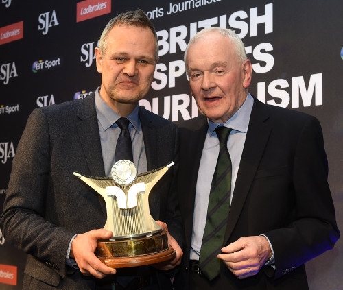 LONDON, ENGLAND - FEBRUARY 22: Paul Hayward receives The Sports Writer Award from Patrick Collins during the The SJA British Sports Journalism Awards on February 22, 2016 in London, England. (Photo by Tom Dulat/Getty Images). *** Local Caption *** Paul Hayward;Patrick Collins