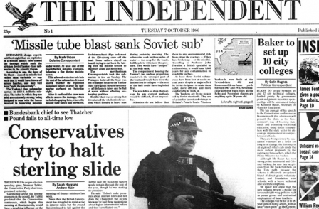 The first edition of The Independent, from October 1986