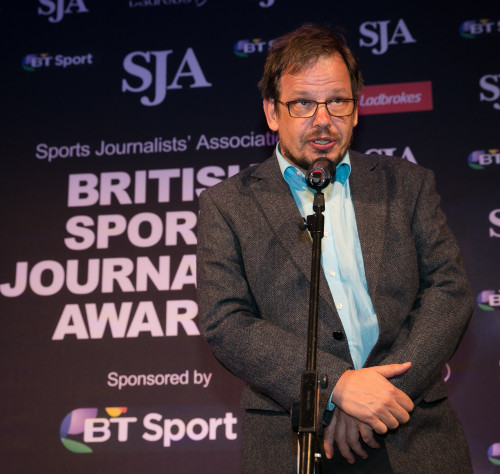 German TV reporter Hajo Seppelt gave a talk to university students in Luton after presentation duties at the SJA British Sports Journalism Awards