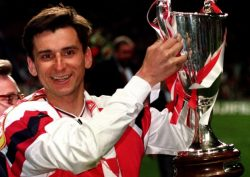 A miracle of sorts: Alan Smith with his hands on a trophy for Arsenal in 1994