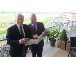 David Walker and Jon Ryan, right, study the form in the SJA's VIP box at York. Photo by Hugh Godwin