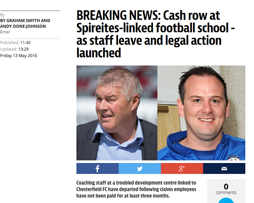 How the Derbyshire Times website is covering the financial woes of PPP, a football company run by Chesterfield FC's CEO