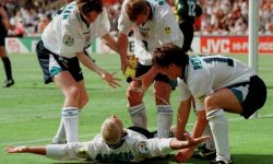 A moment not to miss: Paul Gascoigne's team mates with their pre-arranged celebration for his goal against Scotland at Euro 96