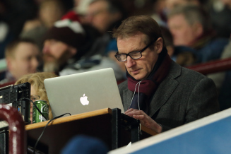 BIRMINGHAM, ENGLAND - JANUARY 19:  Journalist and football pundit Henry Winter now working for The Times newspaper working in the press box during the Emirates FA Cup match between Aston Villa and Wycombe Wanderers at Villa Park on January 19, 2016 in Birmingham, England.  (Photo by Matthew Ashton - AMA/Getty Images)