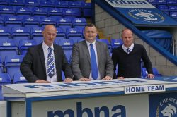 Sports journalist Jim Green (centre), the new chief executive of the Chester FC Community Trust, pictured with board member Mike Day and outgoing CEO Jon McCarthy. Photo: ChesterFC.com